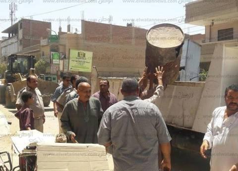 إزالة 308 حالات إشغال مخالف بشوارع سمسطا في بني سويف