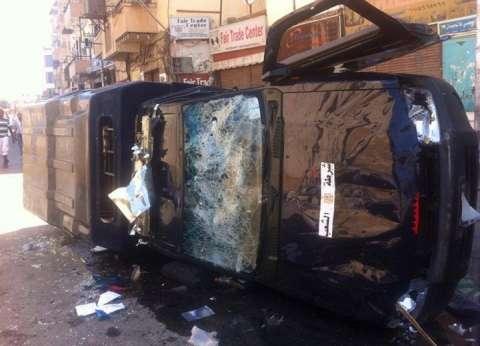 بالأسماء| إصابة ضابط شرطة و5 مجندين إثر انقلاب سيارة أمن مركزي في قنا