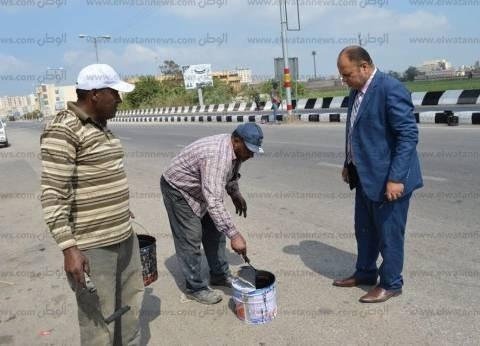 بالصور| مساعد محافظ كفر الشيخ يتفقد تطوير الطريق الدولي وشونة المرور