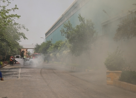 إصابة شخص باختناق في حريق بشقة ببني سويف