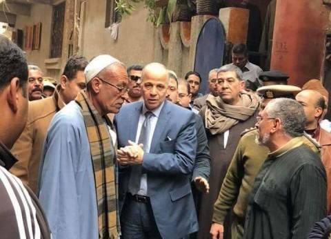 """محافظ القليوبية يقدم العزاء في أسرة """"أبشيش"""" ضحايا مصعد مستشفى بنها"""