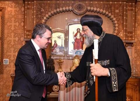 بالصور| البابا تواضروس يستقبل النائب الفيدرالي لبلجيكا