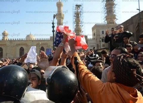 منابر مصر تتوحد دفاعاً عن «القدس».. والمتظاهرون يحرقون علمى أمريكا وإسرائيل