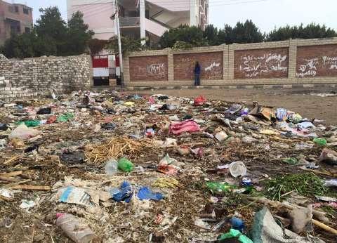 الأهالي يطالبون برفع أكوام القمامة من أمام مدرسة ابتدائي في المنيا