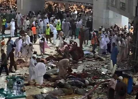 """""""الصحة"""": إصابة 9 مصريين في سقوط """"رافعة"""" بالحرم المكي"""