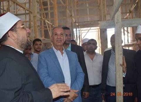 محافظ البحر الأحمر ووزير الأوقاف يتفقدان إنشاءات مسجد الدهار بالغردقة