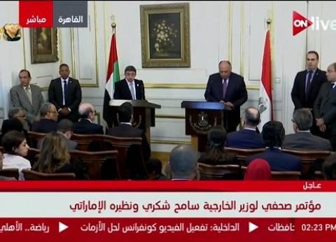 عبدالله بن زايد: سنستمر في العمل مع مصر بقوة لمواجهة تحدياتنا المشتركة