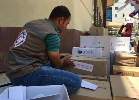 بالصور  الهلال الأحمر المصري يرسل قافلة مساعدات طبية إلى فلسطين