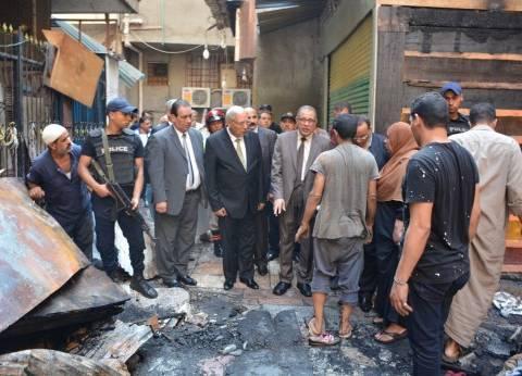 محافظ الدقهلية يتفقد موقع حريق شارع الخواجات ويطلب بحث حالة المتضررين