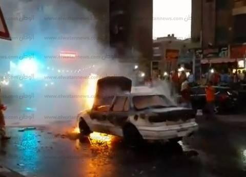 تفحم سيارة ملاكي جوار جامعة مدينة السادات بسبب ماس كهربائي