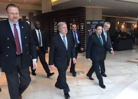 السكرتير العام للأمم المتحدة يغادر مطار القاهرة الدولي