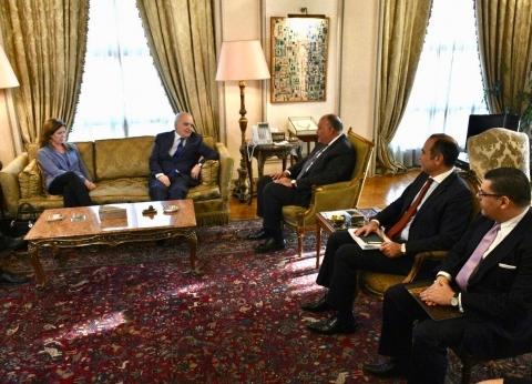 """""""شكري"""" يبحث آخر المستجدات الساحة الليبية مع ممثل الأمم المتحدة"""