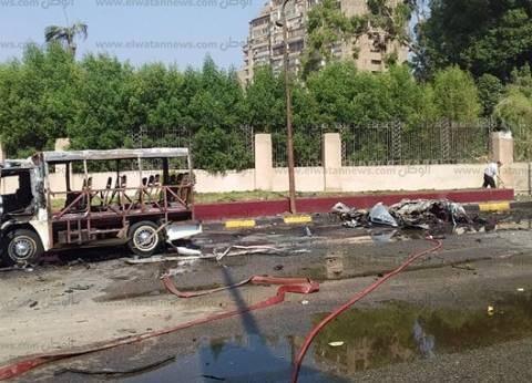 عاجل| إصابة 3 أشخاص في تفحم وتهشم سيارتين عند مطلع كوبري أكتوبر