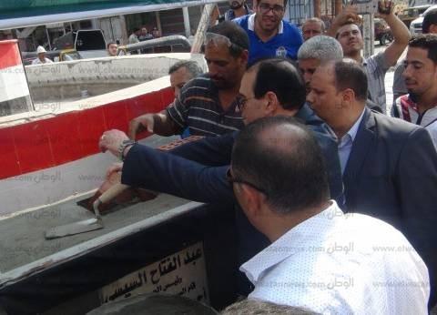 محافظ الدقهلية يضع حجر أساس ميدان شهداء حادث طريق بورسعيد بالمطرية