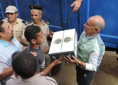 """""""أمن القليوبية"""" يوزع 1000 كرتونة رمضانية على المواطنين في الخصوص"""