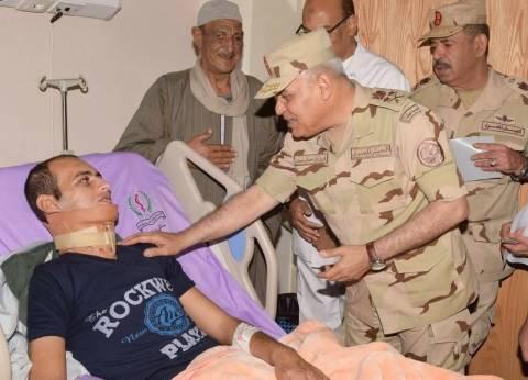 المتحدث العسكري ينشر فيديو زيارة صدقي صبحي لمصابي العمليات الإرهابية