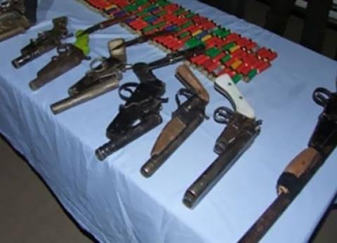 ضبط 14 قطعة سلاح و256 طلقة نارية في المنيا