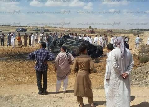 تفحم سيارة دفع رباعي غرب مرسى مطروح