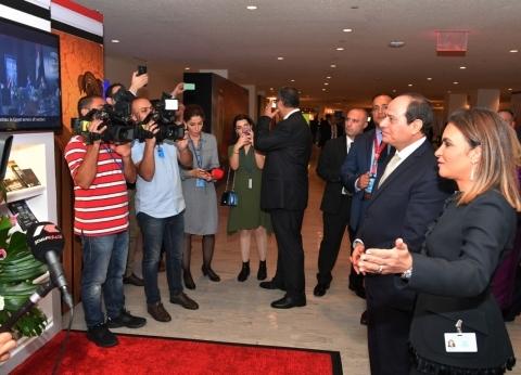 بالصور| السيسي يتفقد جناح الاستثمار المصري في الأمم المتحدة