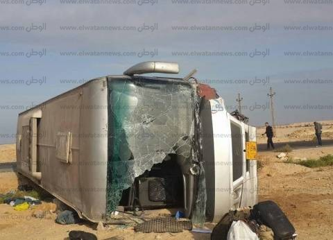 مصرع شخصين وإصابة 11 في حادث تصادم بصحراوي المنيا