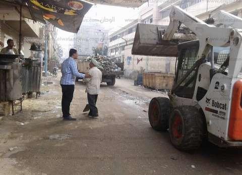 بالصور| حملة لصيانة أعمدة وكشافات الإنارة ورفع القمامة في فوه