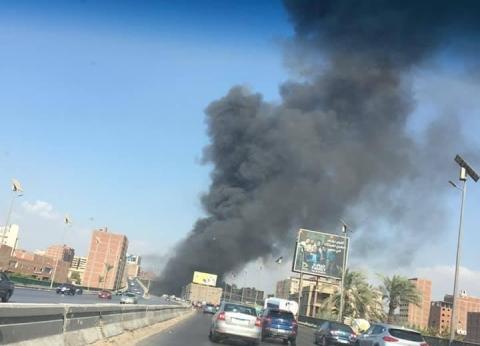 بالصور| حريق هائل بمخزن بجوار وحدة مرور حدائق الأهرام