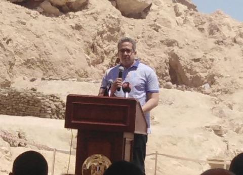 وزير الآثار يعلن اكتشاف مقبرة بمنطقة ذراع أبوالنجا في الأقصر