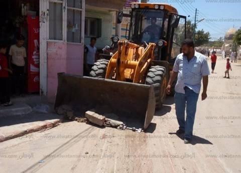 بالصور| حملة لإزالة التعديات على الشوارع العامة في كفر الشيخ