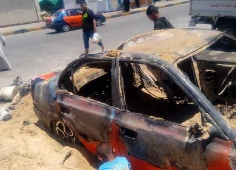 تفحم سيارة تاكسي في الغردقة دون خسائر بشرية