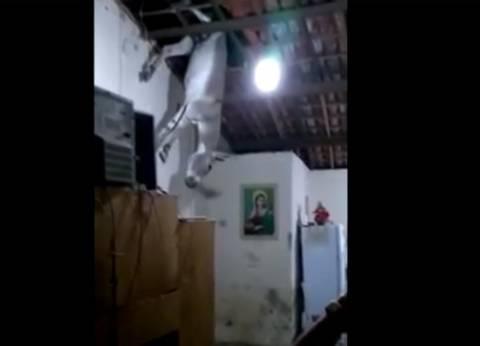 بالفيديو| عائلة برازيلية تتفاجأ بسقوط حمار من سقف منزلها