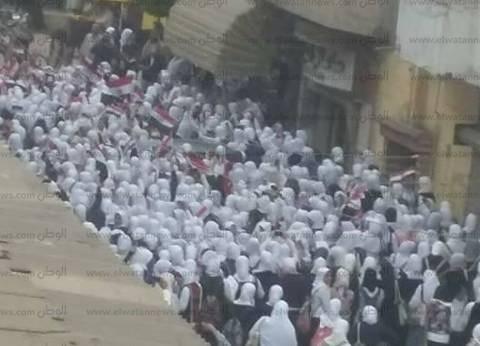 مسيرة لطالبات مدرسة إعدادية بالبحيرة لدعوة الناخبين للمشاركة