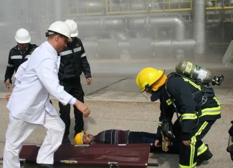 هيئة ميناء دمياط تجري تدريبا عمليا على الإطفاء والإنقاذ