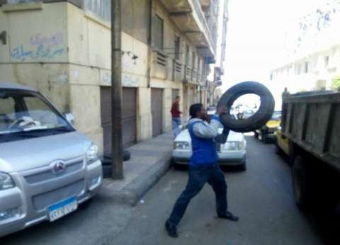 حملة لإزالة الإنشغالات والكتل الخرسانية في حي وسط الإسكندرية