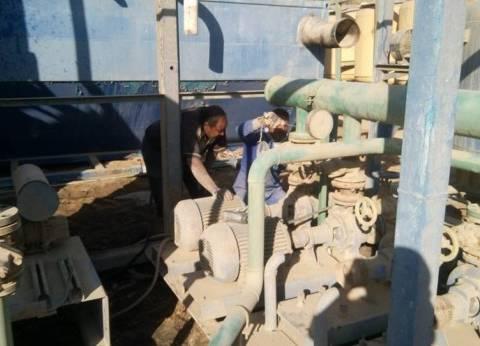 استمرار أعمال الصيانة بمحطة مياه أبو عارف بالسويس