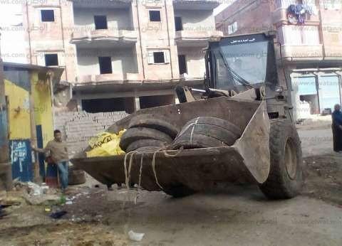 رفع 409 إشغالات متنوعة من شوارع كفر الشيخ