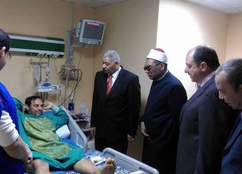 بالصور| وفد من جامعة الأزهر يزور مصابي حادث تفجير كنيسة طنطا