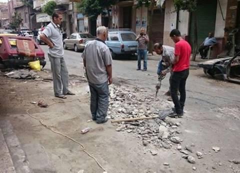 """إزالة الكتل الخرسانية العائقة للمرور في """"الفراهدة"""" بالإسكندرية"""