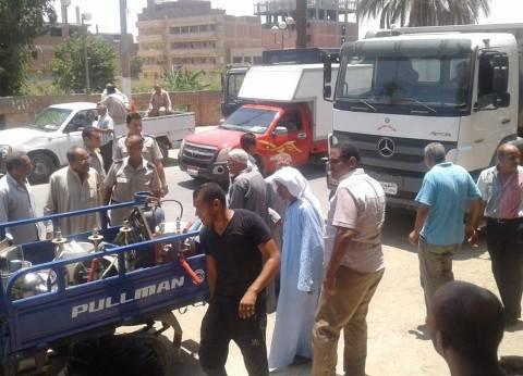 إزالة 217 حالة على الطرق ورفع 600 كرسي مقهى خلال حملة في بني سويف