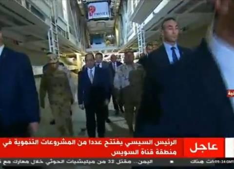 السيسي يتفقد أنفاق أسفل قناة السويس