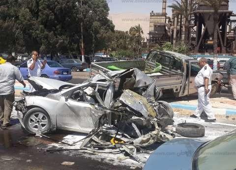 إصابة ضابط شرطة في حادث تصادم بالسويس