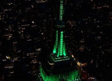 """""""امباير استيت"""" تتزين باللون الأخضر احتفالا بعيد الفطر المبارك"""