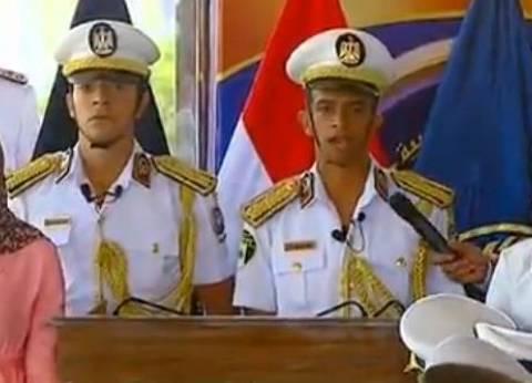 نجل الشهيد محمد عياد خلال تخرجه بكلية الشرطة: بنقدم نفسنا لميدان العزة
