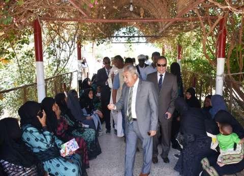 """بهتافات """"تحيا مصر"""".. المصوتون يصطفون أمام لجان الاستفتاء بأسوان"""