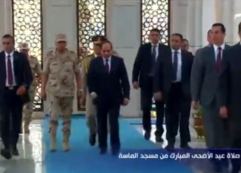 عاجل.. الرئيس السيسي يصل مسجد الماسة بالعلمين الجديدة لأداء صلاة العيد