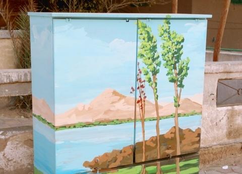 بالصور| محافظة القاهرة تحول أكشاك الكهرباء إلى لوحات فنية