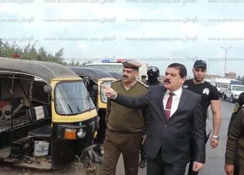 بالصور| مدير أمن الدقهلية يتفقد طريق جمصة ودير القديسة دميانة