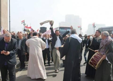 """قبيل انطلاق مؤتمر """"إنزل شارك"""".. مسيرة لمعلمي المنوفية على """"قصر النيل"""""""