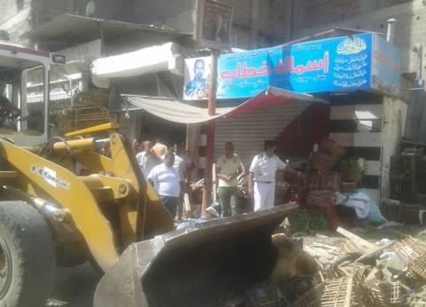 حملة لرفع الإشغالات والتعديات على حرم الطريق بسمالوط في المنيا