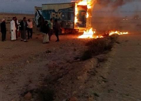 عاجل| حريق يلتهم سيارة نقل بضائع بطريق مطروح السلوم