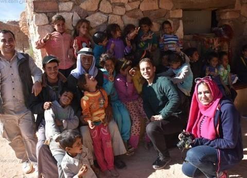 بالصور| استراحة شاي بدوي في الجبل لفريق محمية رأس محمد بطابا